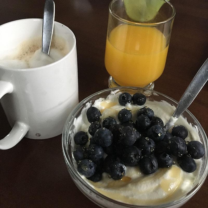 magere kwark koffie blauwe bessen