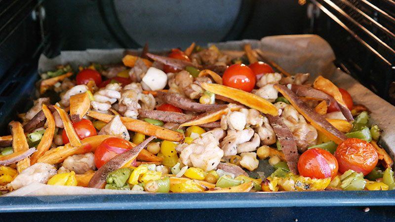 kip zoete aardappel en groenten uit de oven mieksmind