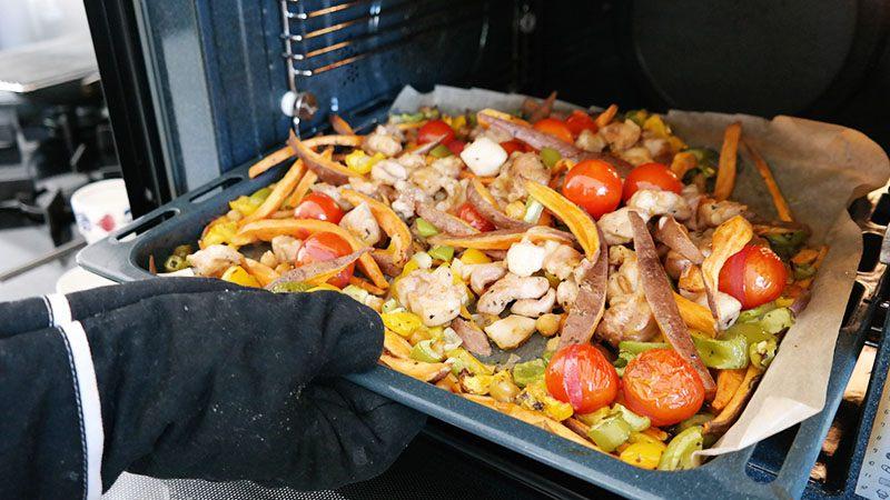 kip zoete aardappel en groenten uit de oven recept