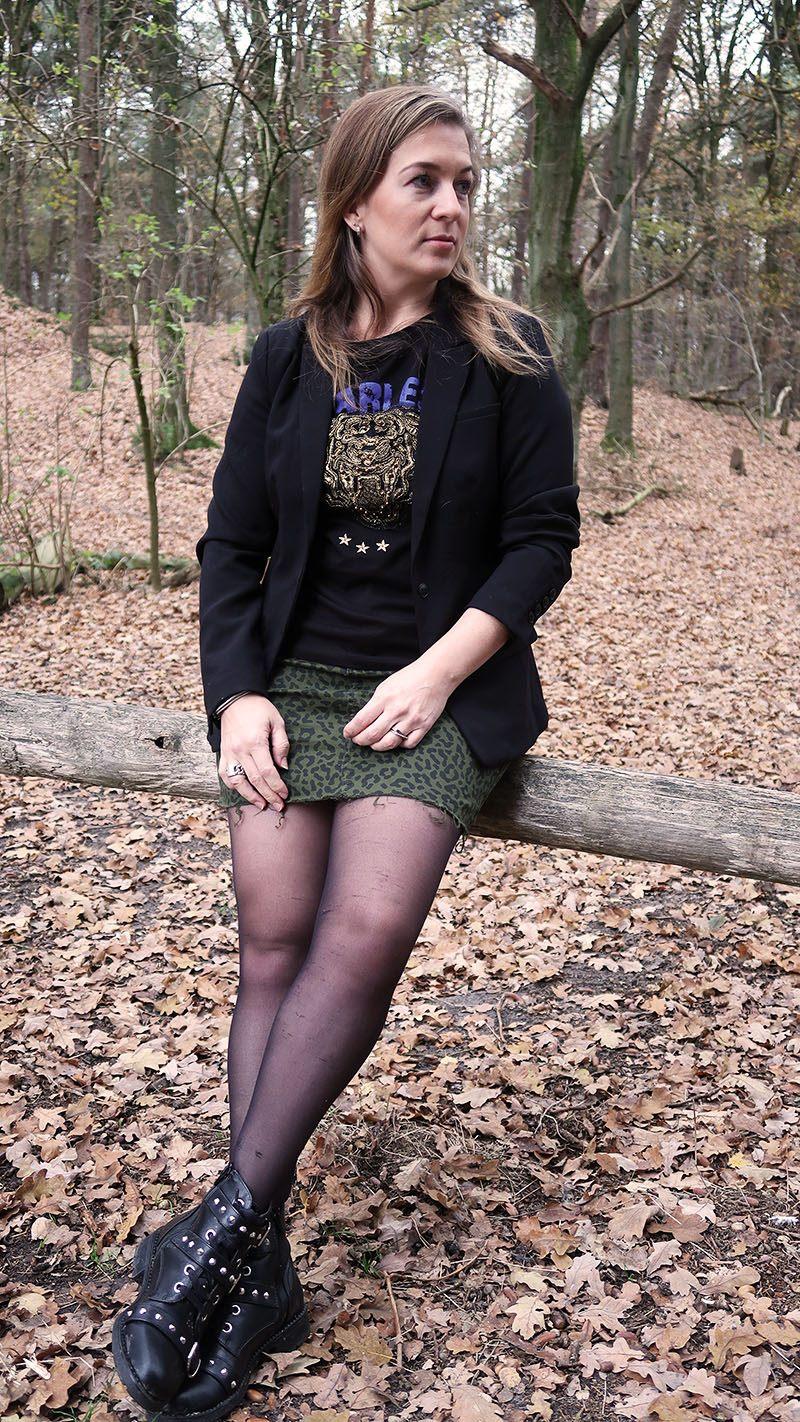 herfst outfit nikkie plessen rokje tijgerprint dames
