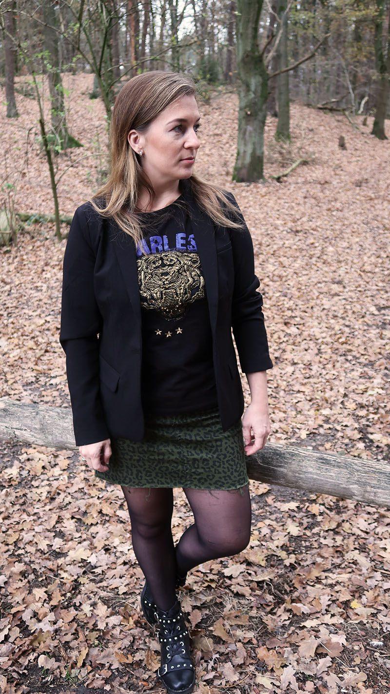herfst outfit rokje nikkie plessen tijgerprint