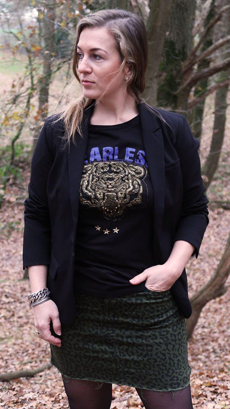herfst outfit tijgerprint rokje nikkie plessen dames