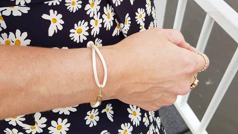 satijnen armband met goud