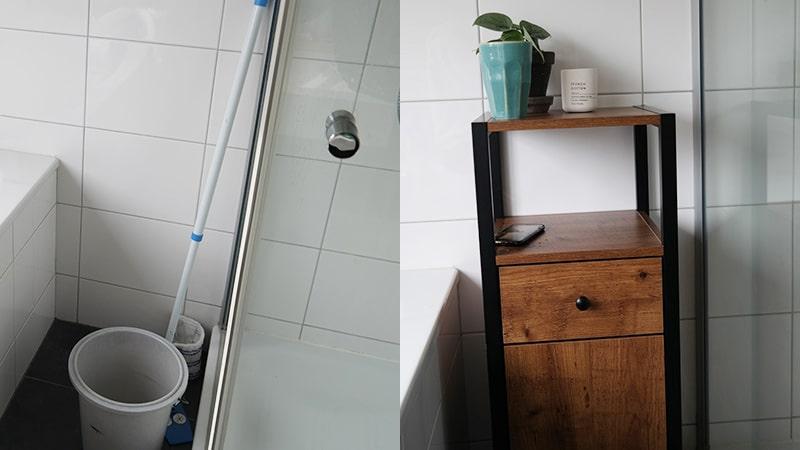 voor en na badkamer makeover